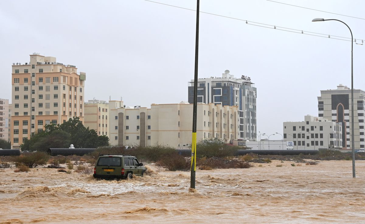 Flooded streets are seen as Cyclone Shaheen makes landfall in Muscat Oman, October 3, 2021. REUTERS