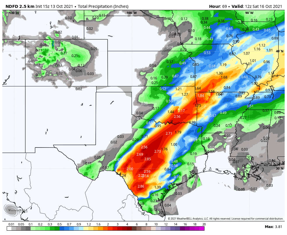 The National Weather Service's forecast of how much rain will broadly fall across the region. Model isn't able to depict the high-end more localized rain totals. Picture via WeatherBell